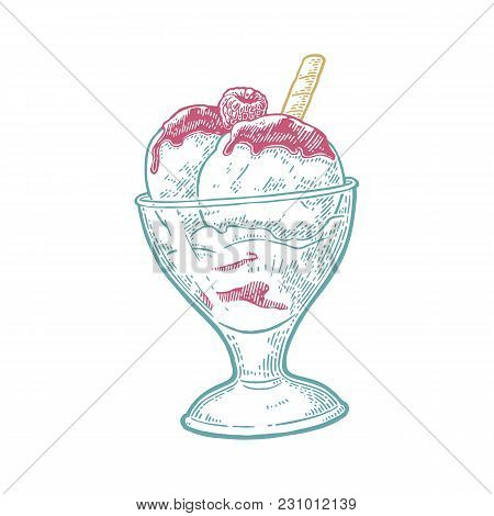 Two Scoops Of Ice Creams In Bowl With Wafer, Raspberries, Syrup. Isolated On White Background. Vecto