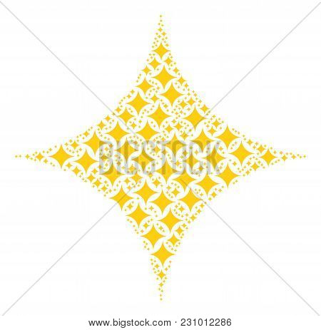 Sparcle Star Composition Created In The Shape Of Sparcle Star Icons. Vector Iconized Composition Don