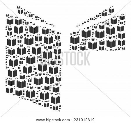 Open Book Illustration Composed In The Set Of Open Book Design Elements. Vector Iconized Composition