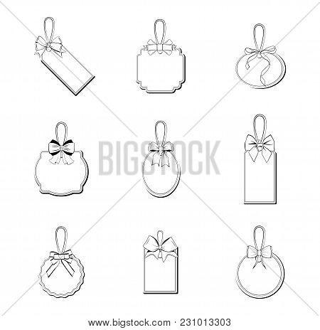 Wedding Labels. Vintage Wedding Invitation Set Design Template Vector Place Card Response Card Save