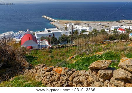 Aerial View Of The City Chora From A Hill On A Sunny Day. Greece. The Island Mykonos.