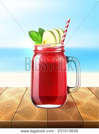 Realistic Smoothie Mason Glass Jar. Vector Strawberry, Watermelon Fruit Juice Drink With Sliced Appl