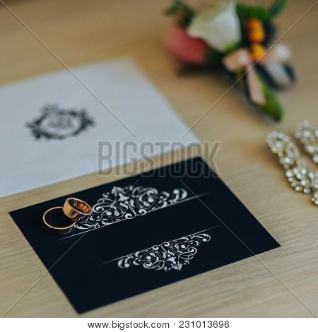 Wedding Rings On The Invitation Card, Rings On A Dark Background, Preparations For The Wedding, Wedd