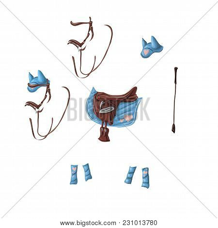 Ammunition Of A Horse For Dressage, Jumping - Saddle, Voltrap, Whip, Ears, Bridle, Bandages Vector I