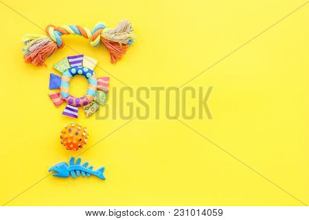 Cats And Dogs Toys And Acessories For Pets On Yellow Background Top View Mockup