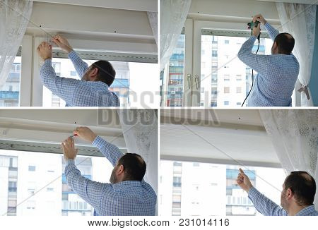 Four Pictures Showing A Process Of Installing Blinds. Measuring And Marking, Drilling, Attaching Ele
