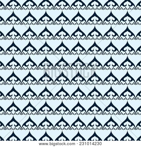 Vector Geometric Seamless Pattern. Monochrome Ornamental Texture With Smooth Linear Shapes, Zigzag L
