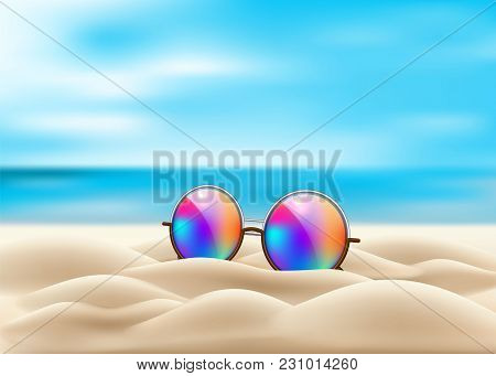 Vector Realistic Retro Circle Eyeglasses On Beach Sand. Vintage Hipster Gradient Lens On Seaside Oce