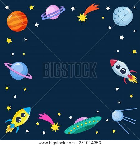 Cute Colorful Background Template With Space Mars Stars Planets Ufo Rockets Spaceships Satellite And