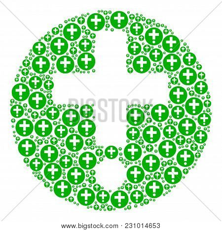 Medical Pharmacy Composition Designed In The Figure Of Medical Pharmacy Icons. Vector Iconized Compo