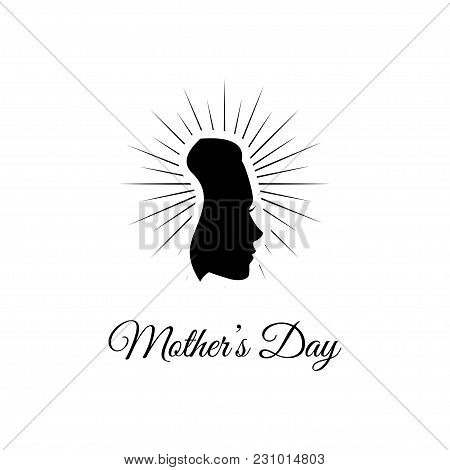 Mother S Day. Woman S Silhouette In Beams. Vector Illustration. Greeting Card Design. Gift For Mom.