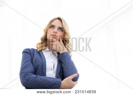 modern woman looking at copy space.i