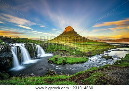 Summer Sunset Over The Famous Kirkjufellsfoss Waterfall With Kirkjufell Mountain In The Background I