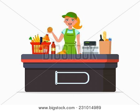 Supermarket Cashier Vector Flat Illustration Isolated On White Background. Woman - Cashier Smiling A