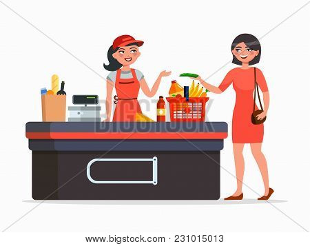 Cashier And Buyer At The Supermarket Vector Flat Illustration Isolated On White Background. Woman Pu
