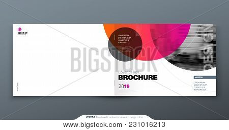 Pink Brochure Design. Horizontal Cover Template For Brochure, Report, Catalog, Magazine. Layout With