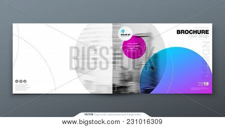 Violet Brochure Design. Horizontal Cover Template For Brochure, Report, Catalog, Magazine. Layout Wi