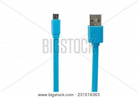 Blue Bored Usb Cable On White Isolated Background