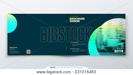 Teal Brochure Design. Horizontal Cover Template For Brochure, Report, Catalog, Magazine. Layout With