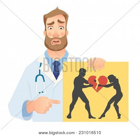 Psychotherapist Holding Banner. Psychotherapist Doctor With Clipboard. Vector Illustration.