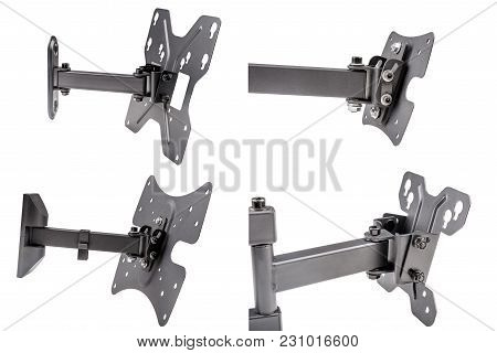Four Black Brackets For Tv On White Isolated Background, Rear View