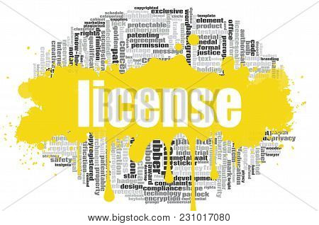 License Word Cloud Concept On White Background, 3d Rendering.