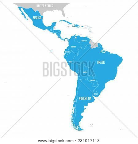 Political Map Of Latin America. Latin American States Blue Highlighted In The Map Of South America,
