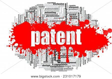 Patent Word Cloud Concept On White Background, 3d Rendering.