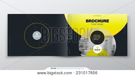 Yellow Brochure Design. Horizontal Cover Template For Brochure, Report, Catalog, Magazine. Layout Wi