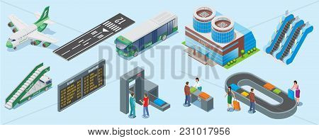 Isometric Airport Elements Set With Airplane Runway Bus Building Escalator Ladder Truck Departure Bo