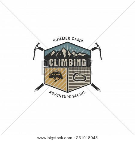 Mountain Adventure, Climbing Vintage Hand Drawn Emblem Template. Outdoor Activity Sport Symbol. Cara