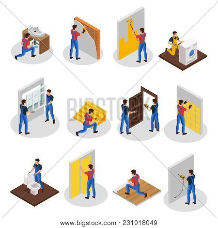 Isometric Home Repair Set With Different Professional Workers And House Renovation And Improvement P