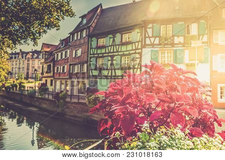 Colorful Traditional French Houses And Shops In Colmar, Alsace