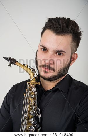 Saxophone Player Saxophonist With Sax Alto Jazz Music Instrument