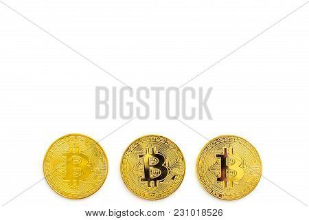 Bitcoin Digital Money For Finance And Online Buy Or Sell On White Desk Background Top View Mockup