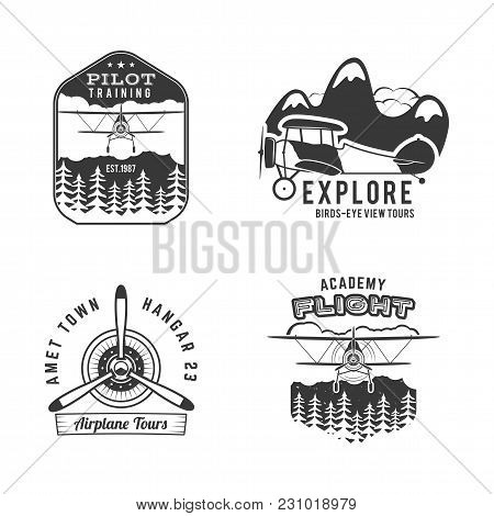 Vintage Hand Drawn Old Fly Stamps. Travel Or Business Airplane Tour Emblems. Airplane Logo Designs.