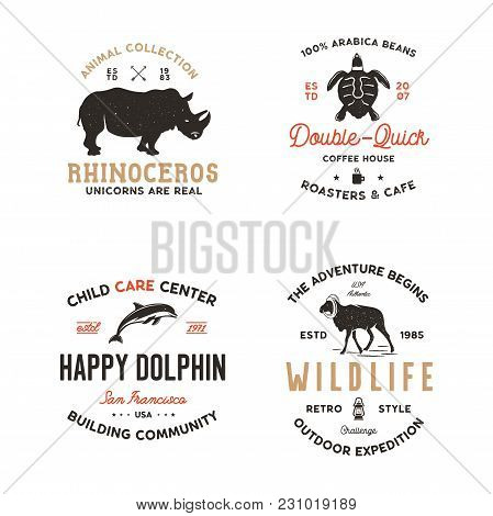 Wild Animal Badges Set And Great Outdoors Activity Insignias. Retro Illustration Of Animal Badges. T