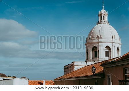 The White Cupola Of The National Pantheon In Lisbon With Blue Sky In The Background. Lisboa Lissabon