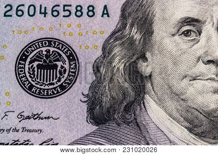 Closeup Of Ben Franklin On A One Hundred Dollar Bill For Background I