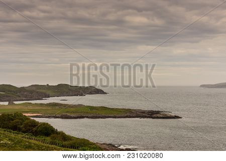 Inverasdale, Scotland - June 9, 2012: View Towards The Atlantic Ocean From Cove Light Anti Aircraft