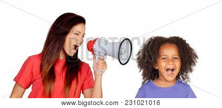 Teacher shouting at funny african girl isolated on a white background