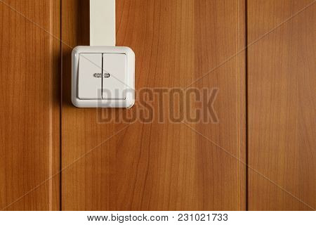 Two-column Wall Switch With Two Leds Attached To The Wooden Wall And Hidden In The Cable Channel Pow