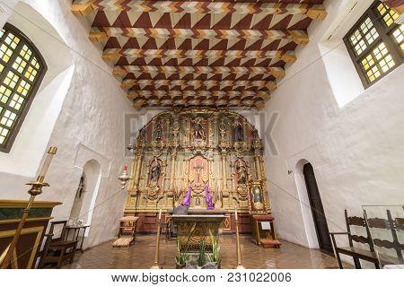 San Francisco, California - March 10, 2018: Interior Of Church Altar Of The Mission San Francisco De
