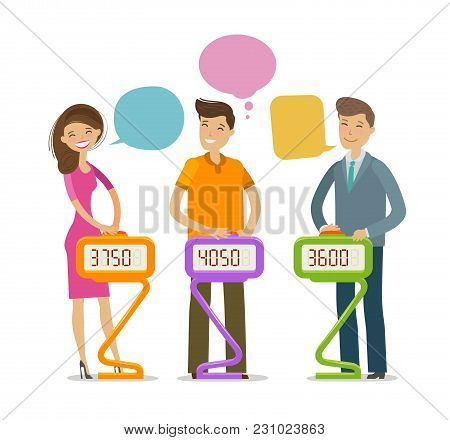 Quiz Show, Answer Question. Players Stand And Press Button. Cartoon Vector