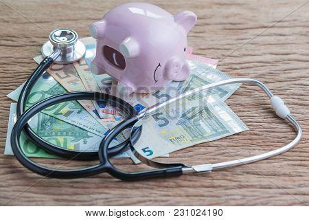 Finance Health Check On Eu European Union Economic Problem Or Crisis Concept, Empty Saving Piggy Ban