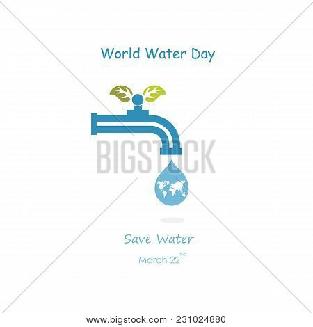 Water Drop And Water Tap Icon With Globe Icon Vector Logo Design Template.world Water Day Icon.world