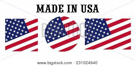 Made In The United States Usa Vector Icon Set. Labels In Colors Of American Flag Isolated On White B
