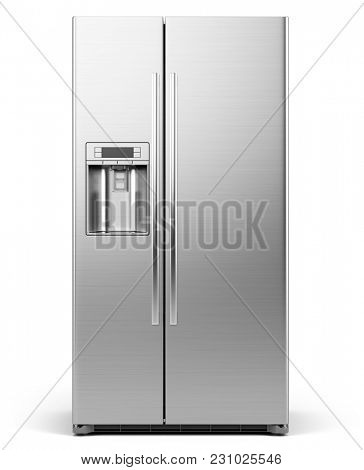 Front View of Modern side by side Stainless Steel Refrigerator . Fridge Freezer Isolated on a White Background. 3d rendering