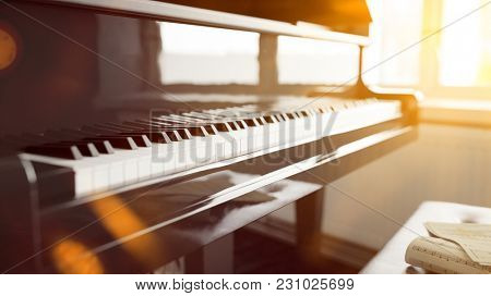 Piano keys before piano lessons at home (3D Rendering)