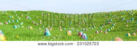 Many colorful easter eggs in the grass of a meadow for easter (3D Rendering)